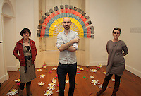 Artists Elmarie Collins, Daniel Greaney and Sarah O'Brien at the opening of 'SYNC' a Multi-Sensory Exhibition at Galway Arts Centre during the Baboró International Arts Festival for Children. The exhibition features new work from the three artists who were mentored by teachers, children and young people at Abalta School, a specialist school for children, young people and families living with autism. ..