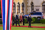 18 NOVEMBER 2012 - BANGKOK, THAILAND: US President Barack Obama and Yingluck Shinawatra, Thai Prime Minister, arrive at Government House in Bangkok. US President Barack Obama arrives for the start of his tour of Southeast Asia on November 18, 2012 in Bangkok, Thailand. Barack Obama will become the first US President to visit Myanmar during the four-day tour of Southeast Asia that will also include visits to Thailand and Cambodia.    PHOTO BY JACK KURTZ