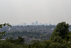 July 26, 2018 - London, London, United Kingdom - Heatwave Triggers High Level Of Pollution. ..High levels of pollution over LondonÃ•s skyline seen from Alexandra Palace in north London. Britain's heatwave has triggered a high pollution warning in London. The temperature is expected to reach 37 degrees celsius in some parts of the country on Friday and July will be the hottest month since records began. (Credit Image: © Dinendra Haria/i-Images via ZUMA Press)