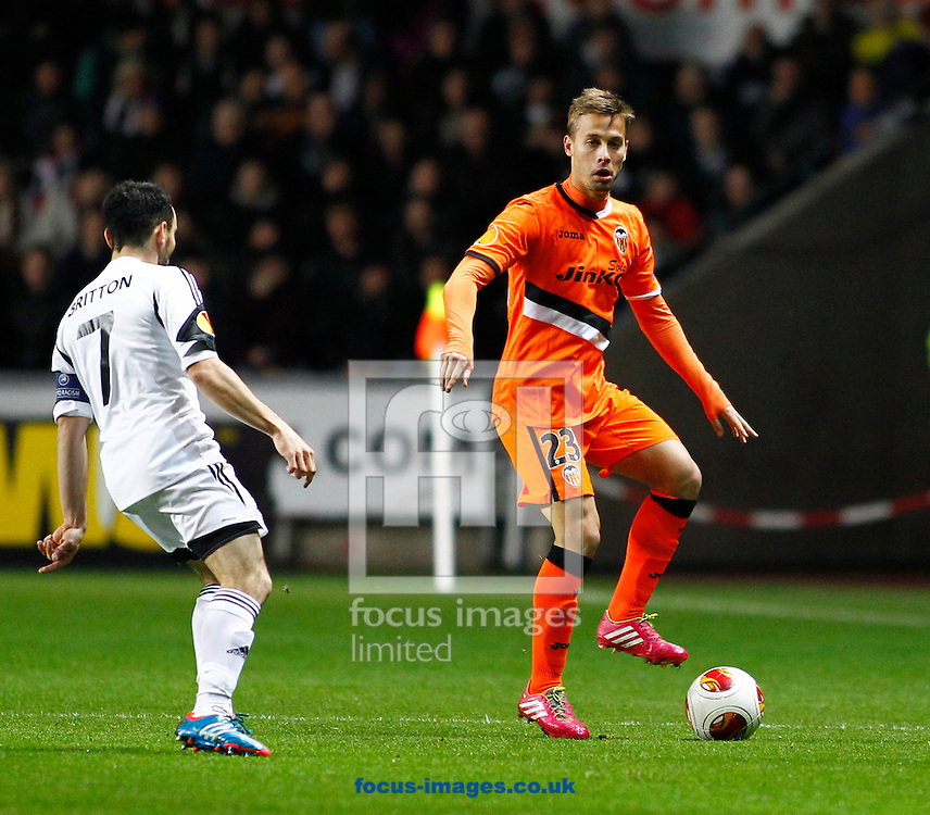 Picture by Mike  Griffiths/Focus Images Ltd +44 7766 223933<br /> 28/11/2013<br /> Leon Britton of Swansea City and Sergio Canales of Valencia Club de F&uacute;tbol during the UEFA Europa League match at the Liberty Stadium, Swansea.