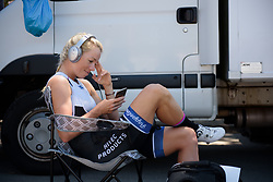 Charlotte Becker relaxes before her start time on Stage 5 of the Giro Rosa - a 12.7 km individual time trial, starting and finishing in Sant'Elpido A Mare on July 4, 2017, in Fermo, Italy. (Photo by Sean Robinson/Velofocus.com)