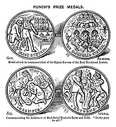 "Punch's Prize Medals. Medal struck in commemoration of the signal success of the real Blockhead System. Commemorating the decision in re Mud-Salad Market's Rates and Tolls. ""Dooky pays for all!"""