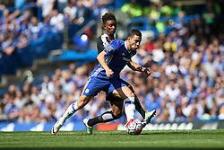 Eden Hazard of Chelsea under pressure from Demarai Gray of Leicester City- Mandatory byline: Jason Brown/JMP - 15/05/2016 - FOOTBALL - London, Stamford Bridge - Chelsea v Leicester City - Barclays Premier League