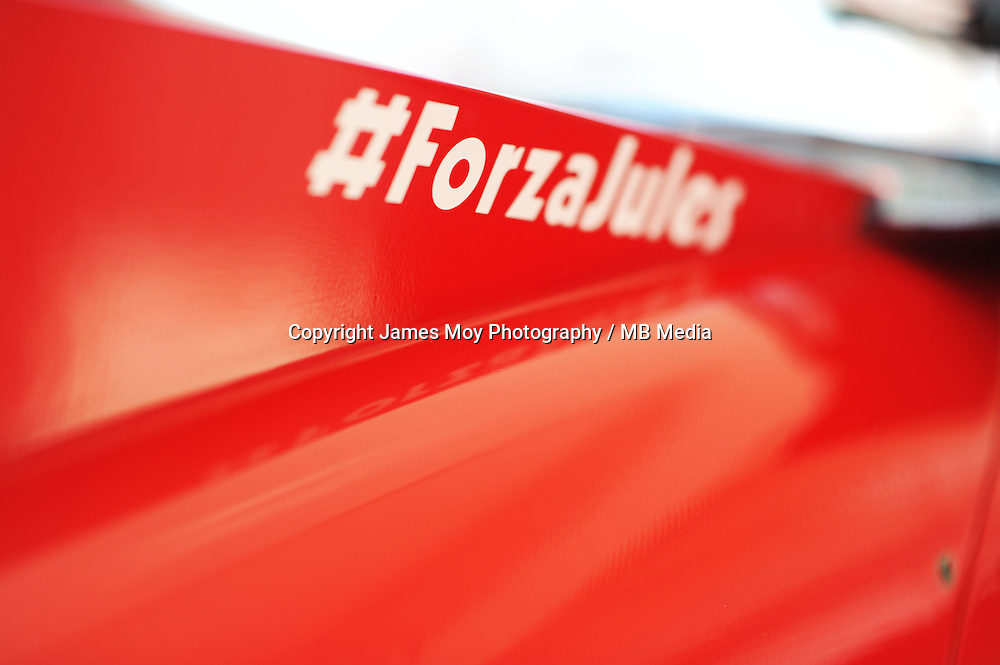 Ferrari F14-T engine cover carrying a message of support for Jules Bianchi.<br /> United States Grand Prix, Thursday 30th October 2014. Circuit of the Americas, Austin, Texas, USA.