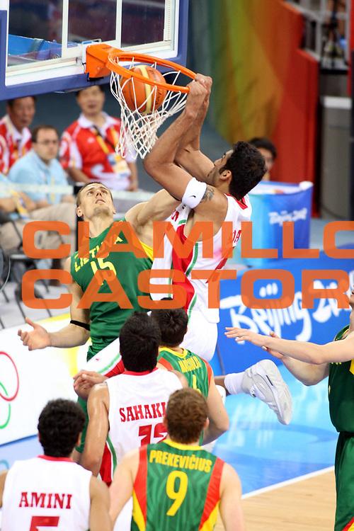 DESCRIZIONE : Beijing Pechino Olympic Games Olimpiadi 2008 Iran Lithuania<br />GIOCATORE : Hamed Ehadadi<br />SQUADRA : Iran<br />EVENTO : Olympic Games Olimpiadi 2008<br />GARA : Iran Lituania<br />DATA : 12/08/2008 <br />CATEGORIA : Schiacciata<br />SPORT : Pallacanestro <br />AUTORE : Agenzia Ciamillo-Castoria/G.Ciamillo<br />Galleria : Beijing Pechino Olympic Games Olimpiadi 2008 <br />Fotonotizia : Beijing Pechino Olympic Games Olimpiadi 2008 Iran Lituania<br />Predefinita :