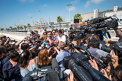 July 4, 2018 - Barcelona, Spain - Medias interview a spokesperson from the Catalan Red Cross regarding the arrival of the Open Arms in the port of Barcelona, Spain, on July 4, 2018. (Credit Image: © Marco Panzetti/NurPhoto via ZUMA Press)