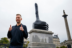 "© Licensed to London News Pictures. 29/09/2016. London, UK. Artist DAVID SHRIGLEY unveils his artwork ""Really Good"" the 11th commission for the Fourth Plinth in Trafalgar Square, London on 29 September 2016. Photo credit: Tolga Akmen/LNP"