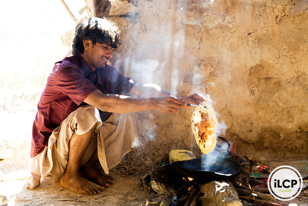 Bedouin making local bread, Hawf Protected Area, Yemen