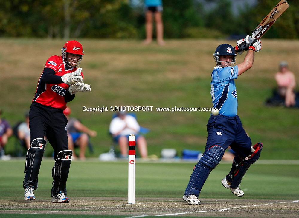Auckland batsman Gareth Hopkins during his innings with Reece Young up to the stumps. Canterbury Wizards v Auckland Aces in the One Day Competition, Preliminary Semi Final. QEII Park, Christchurch, New Zealand. Sunday, 06 February 2011. Joseph Johnson / PHOTOSPORT.