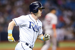 September 16, 2017 - St. Petersburg, Florida, U.S. - WILL VRAGOVIC       Times.Tampa Bay Rays left fielder Corey Dickerson (10) singles in the fifth inning of the game between the Boston Red Sox and the Tampa Bay Rays at Tropicana Field in St. Petersburg, Fla. on Saturday, Sept. 16, 2017. (Credit Image: © Will Vragovic/Tampa Bay Times via ZUMA Wire)