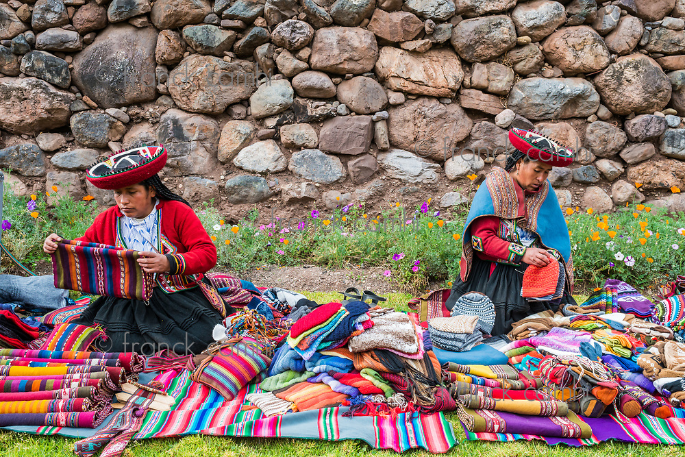 Cuzco, Peru - July 15, 2013: women selling handcraft in the peruvian Andes at Cuzco Peru on july 15th, 2013