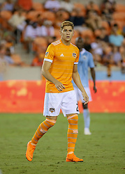 August 4, 2018 - Houston, TX, U.S. - HOUSTON, TX - AUGUST 04:  Houston Dynamo forward Ronaldo Peña enters the pitch as a substitute player during the soccer match between Sporting Kansas City and Houston Dynamo on August 4, 2018 at BBVA Compass Stadium in Houston, Texas.  (Photo by Leslie Plaza Johnson/Icon Sportswire) (Credit Image: © Leslie Plaza Johnson/Icon SMI via ZUMA Press)
