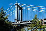 Piers, wire supports and cables of Manhattan Bridge viewed from Brooklyn, New York City