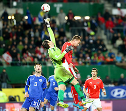 31.03.2015, Ernst Happel Stadion, Wien, AUT, Freundschaftsspiel, Oesterreich vs Bosnien Herzegowina, im Bild Toni Sunjic (BiH) , Asmir Begovic (BiH) und Stefan Ilsanker (AUT) // during the friendly match between Austria and Bosnia and Herzegovina at the Ernst Happel Stadion, Vienna, Austria on 2015/03/31. EXPA Pictures © 2015, PhotoCredit: EXPA/ Alexander Forst
