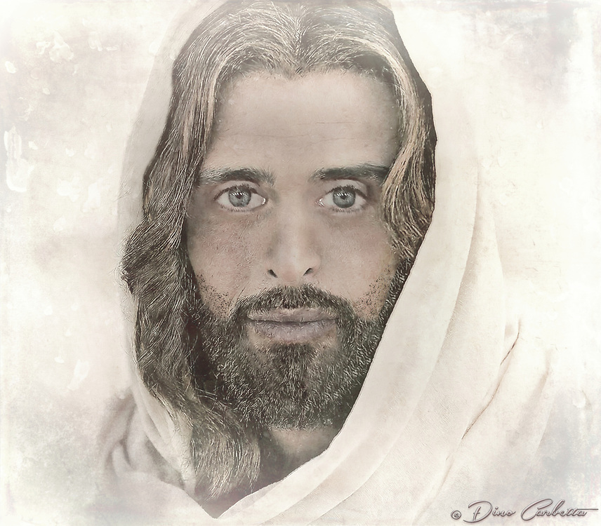 """""""A million faces of Jesus by Dino Carbetta - Transparent""""...<br /> <br /> Daniel 10: 5-6 """"As I looked up, I saw a man dressed in linen with a belt of fine gold around his waist. His body was like chrysolite, his face shone like lightning, his eyes were like fiery torches, his arms and feet looked like burnished bronze, and the sound of his voice was like the roar of a multitude."""" Genesis 1:27 """"God created mankind in his image; in the image of God he created them; male and female he created them."""" Since early childhood my fascination with the face of Christ resulted in a multitude of sketches, drawings, and photographs. Today, my mind's eye continues this perception in wonderment. I yearn to see, feel and touch this beatific vision.  Blessed with humble skills, this is my current vision after three years of introspection and change of the face of Christ. I know that in heaven the just will see God by direct intuition, clearly and distinctly. Scripture and theology tell us that the blessed see God face to face. And because this vision is immediate and direct, it is also exceedingly clear and distinct. The blessed see God, not merely according to the measure of His likeness imperfectly reflected in creation, but they see Him as He is, after the manner of His own Being. 1 Corinthians 13:12 """"At present, we are looking at a confused reflection in a mirror; then, we shall see face to face; now, I have only glimpses of knowledge; then, I shall recognize God as he has recognized me."""""""