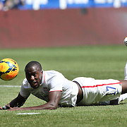 Jozy Altidore, (left), USA, watches his shot come back off goalkeeper Onur Recep Kivrak during the US Men's National Team Vs Turkey friendly match at Red Bull Arena.  The game was part of the USA teams three-game send-off series in preparation for the 2014 FIFA World Cup in Brazil. Red Bull Arena, Harrison, New Jersey. USA. 1st June 2014. Photo Tim Clayton