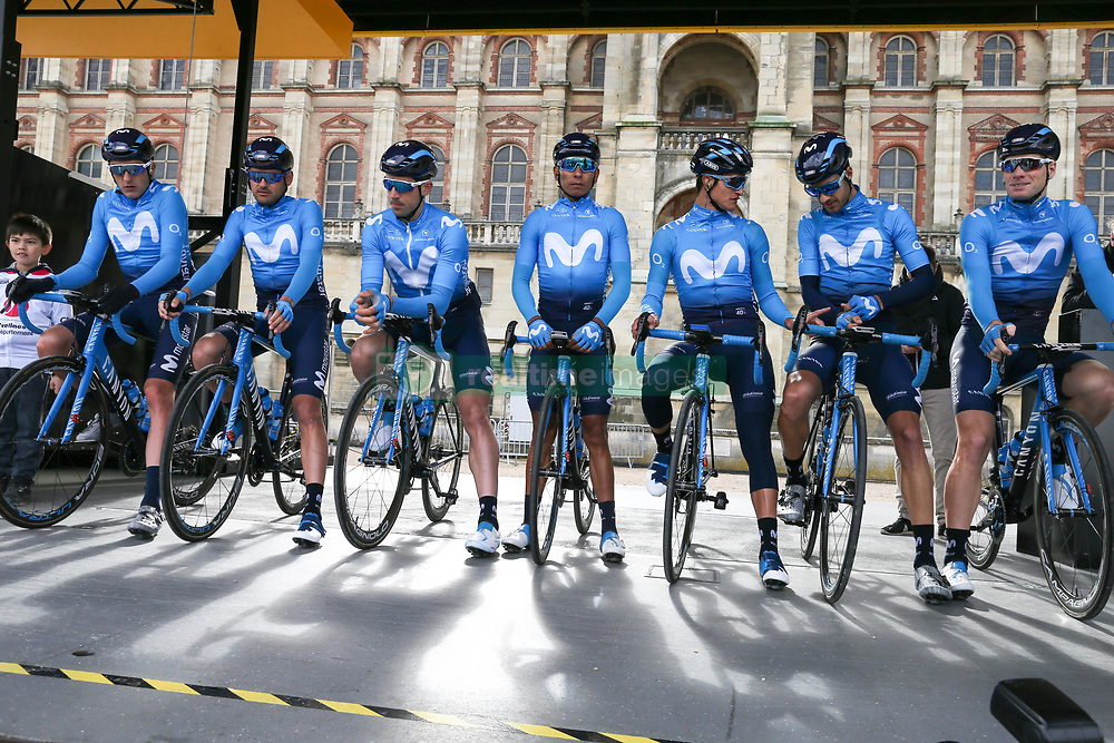 March 10, 2019 - Paris, Ile-de-France, France - Movistar cycling team poses during the team's presentation at the start of the 138,5km 1st stage of the 77th Paris-Nice cycling race between Saint-Germain-en-Laye and Saint-Germain-en-Laye in the west suburb of Paris, France, on March 10, 2019. Whether leaders of a team or merely a team-mate, the riders on the Paris-Nice try to excel, either individually or as a team. According to the stage profiles, changes in the general standings or some unexpected circumstance during the race, each rider adapts his objectives to the situation. (Credit Image: © Michel Stoupak/NurPhoto via ZUMA Press)