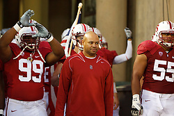 Nov 12, 2011; Stanford CA, USA;  Stanford Cardinal head coach David Shaw enters the field with his team before the game against the Stanford Cardinal at Stanford Stadium.  Oregon defeated Stanford 53-30. Mandatory Credit: Jason O. Watson-US PRESSWIRE
