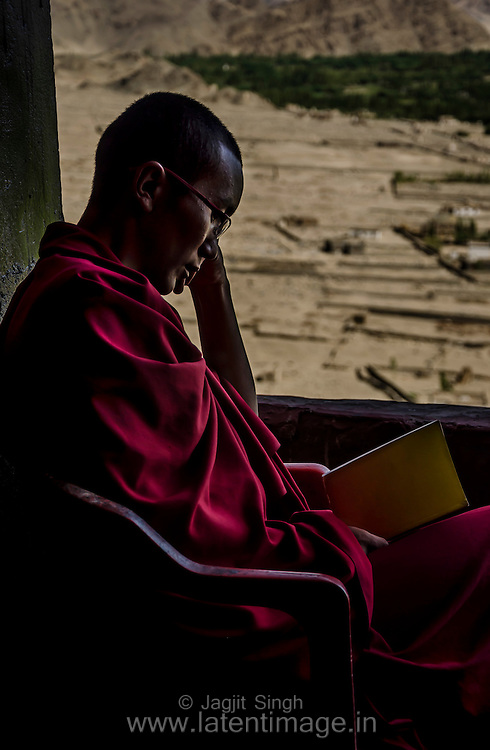 A lama, on his way to wisdom, at Thiksey Monastery.