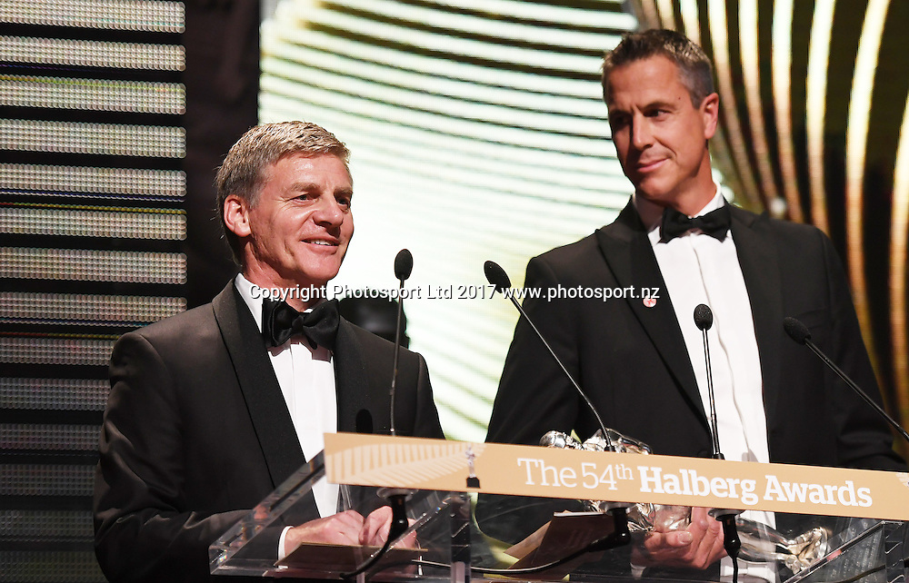 Halberg Award (Supreme) Presenters, Rob Waddell and Prime Minister Rt Hon Bill English. The 54th Halberg Awards in support of the Halberg Disability Sport Foundation. Vector Arena, Auckland, New Zealand. Thursday 9 February 2017. © Copyright photo: Andrew Cornaga / www.photosport.nz