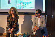 CAROLYN CHRISTOV-BARKARGIEV; VADIM GRIGORIAN, Introduction to art initiative by Absolut Art Bureau new format of Absolut Art Award, By Vadim Grigorian and Carolyn Christov-Bakargiev at Standehaus<br /> Documenta ( 13 ), Kassel, Germany. 14 September 2012.