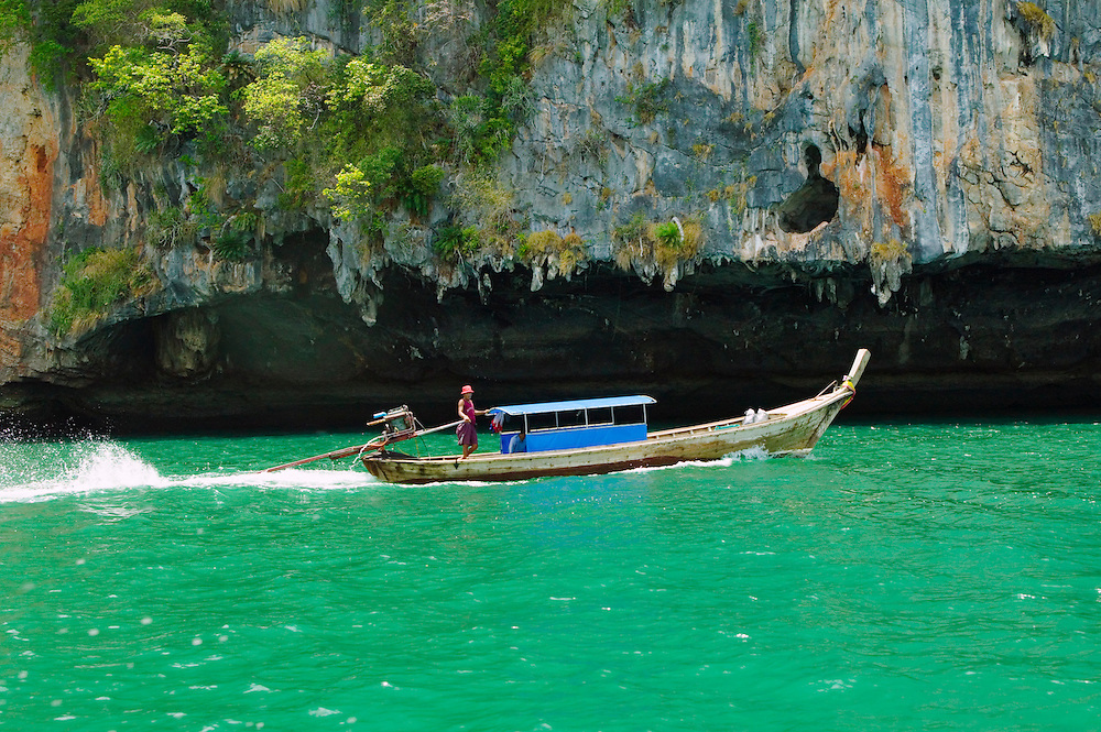 Longtail boat and limestone cliffs Southern Thailand&amp;#xA;<br />