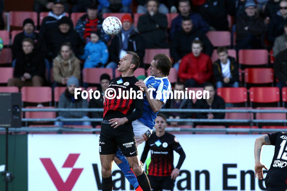 2.4.2016, Myyrm&auml;en jalkapallostadion, Vantaa.<br /> Veikkausliiga 2016.<br /> Pallokerho-35 Vantaa - Rovaniemen Palloseura.<br /> Njazi Kuqi (PK-35 Vantaa) v Juuso H&auml;m&auml;l&auml;inen (RoPS).