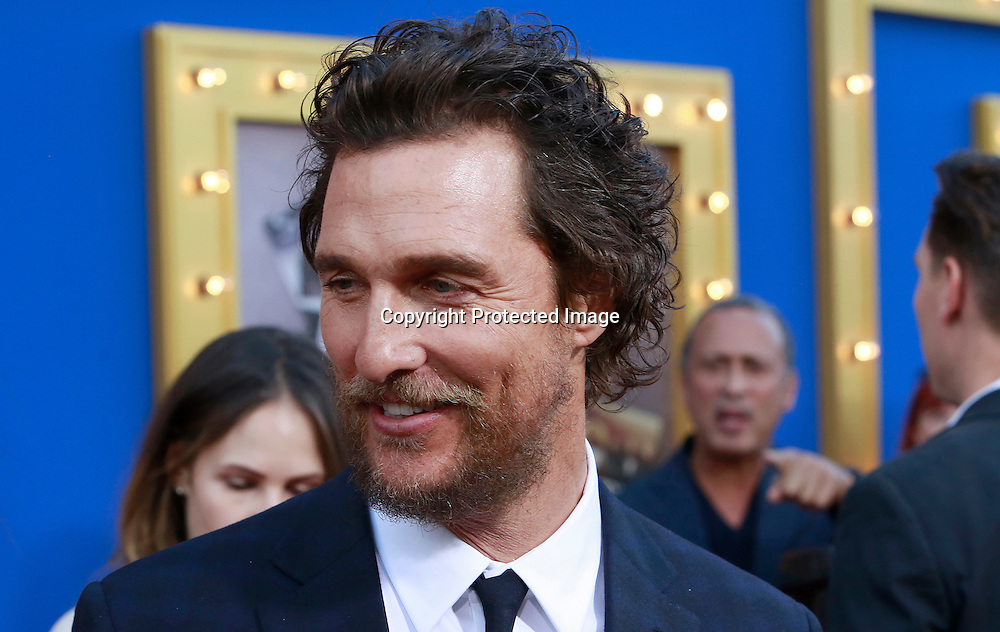 "Actor Matthew McConaughey attends the premiere of Universal Studios ""Sing"" at Microsoft Theater at L.A. Live, Los Angeles, on December 3, 2016"