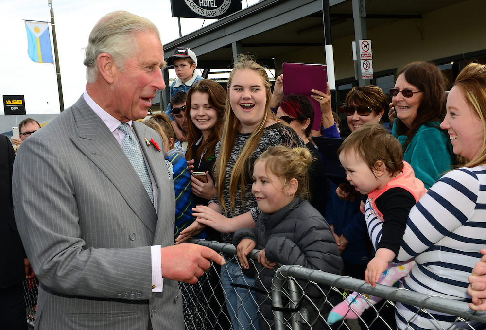 Prince Charles, Prince of Wales on his public walkabout in Westport, New Zealand, Saturday, November 07, 2015. Credit:SNPA / Westport News, Sheree Cargill