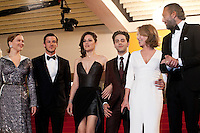 Lea Seydoux, Gaspard Ulliel, Marion Cotillard, Xavier Dolan, Nathalie Baye and Vincent Cassel at the gala screening for the film It's Only the End of the World (Juste La Fin Du Monde) at the 69th Cannes Film Festival, Thursday 19th  May 2016, Cannes, France. Photography: Doreen Kennedy