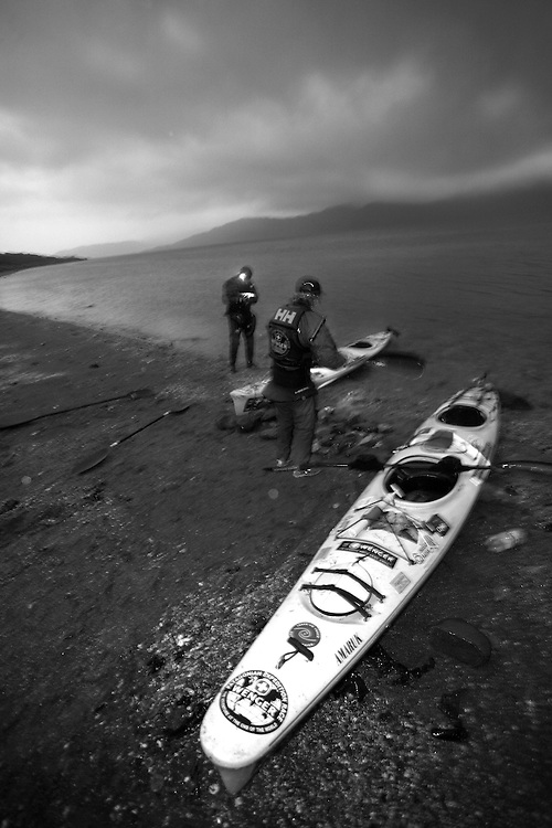 The British Team Helly Hansen Prunesco Sea Kayaking on the Magallan Straights in Patagonia, Chile, South America while competing in the 2009 Wenger Patagonia Expedition Race. .Copyrighted work .Permission must be sought before use of this image..Alex Ekins .0114 2630277.07901883 994