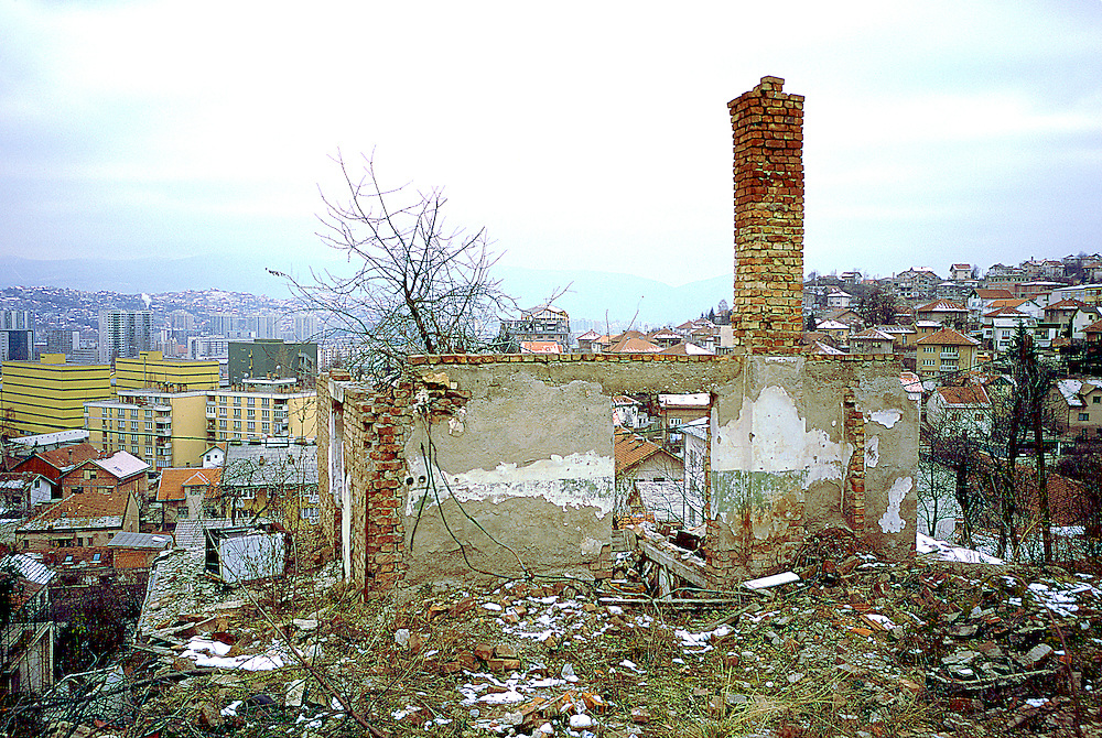 Sarajevo backyard and overview of the city after the war