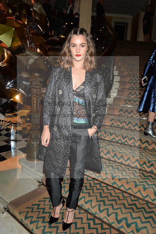 SAI BENNETT at a party to celebrate theunveiling of the Claridge's Christmas Tree designed by Christopher Bailey for Burberryheld at Claridge's, Brook Street, London on 18th November 2015.
