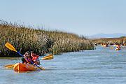 Visitors enjoy kayaking adventures through the marshlands during Santa Clara County Parks Day on the Bay event at Alviso Marina County Park in Alviso, California, on October 13, 2013. (Stan Olszewski/SOSKIphoto)