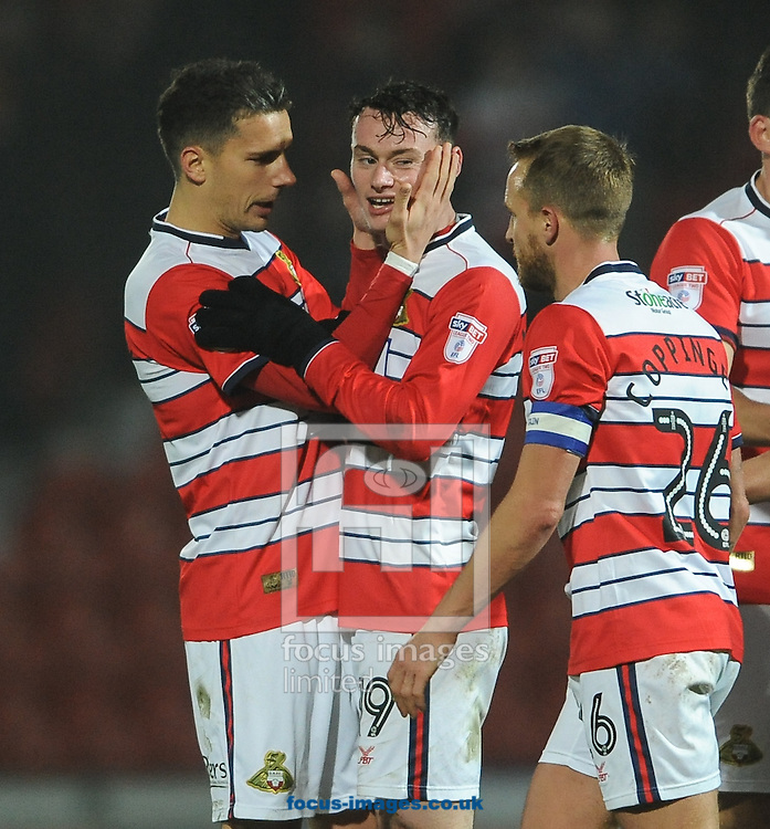 Liam Mandeville of Doncaster Rovers celebrates scoring his 2nd of the game to make it 3-1 during the Sky Bet League 2 match at the Keepmoat Stadium, Doncaster<br /> Picture by Richard Land/Focus Images Ltd +44 7713 507003<br /> 26/11/2016