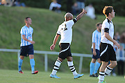 Bruno Costa scores for East Preston to make it 1-1  during the FA Vase 1st Qualifying Round match between Worthing United and East Preston FC at the Robert Eaton Memorial Ground, Worthing, United Kingdom on 6 September 2015. The first home match for Worthing United since losing team mates Matthew Grimstone and Jacob Schilt in the Shoreham air show disaster.