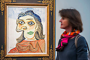 Frieze Masters opens with work from Miro, Picasso in contrast to photography by Annie Liebowitz and relics from the middle ages.  Regents Park, London, UK.
