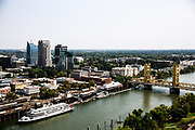 Downtown Sacramento, the Delta King and Tower Bridge in Sacramento, California on August 18, 2015.