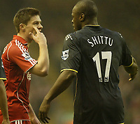 Photo: Aidan Ellis.<br /> Liverpool v Watford. The Barclays Premiership. 23/12/2006.<br /> Liverpool's Xabi Alonso argues with Watford's Dan Shittu