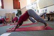 The Prison Phoenix Trust yoga class inside HMP Winchester. 17th January 2017. Photo Credit must read: © Prisonimage.org