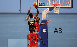 Daniel Edozie of Bristol Flyers on the defence - Photo mandatory by-line: Arron Gent/JMP - 28/04/2019 - BASKETBALL - Surrey Sports Park - Guildford, England - Surrey Scorchers v Bristol Flyers - British Basketball League Championship