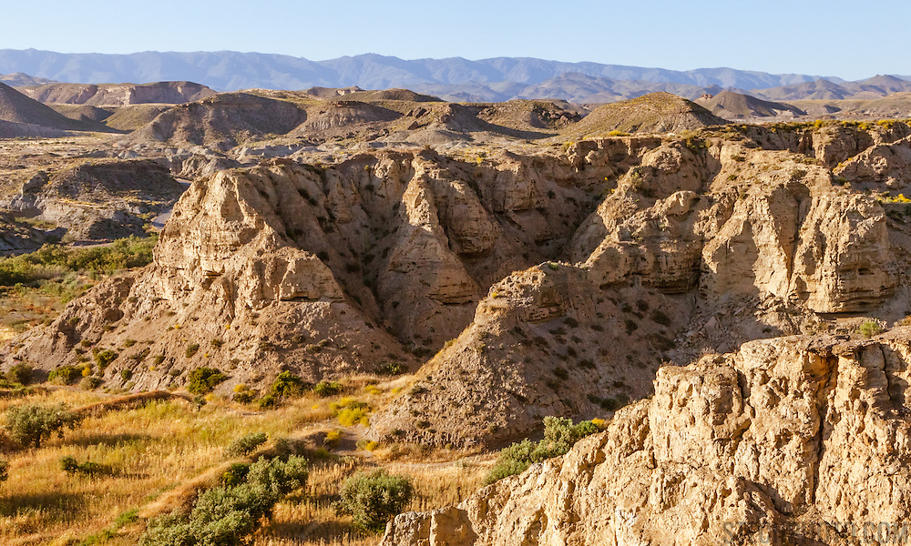A landscape of the Tabernas Desert in Almeria province, Andalucia, Spain.<br />