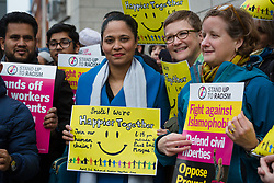 © Licensed to London News Pictures. 03/04/2018. London, UK. RUSHANARA ALI MP joins people from accross the east London community join muslims after evening prayers to take part in the national Happier Together Day by staging a demonstration in the street outside the East London Mosque in Whitechapel. The Happier Together campaign values Britain's rich cultural diversity and represents people who want to live in a country that embraces ethnic, cultural and religious difference, rejecting discrimination and hatred in all forms with a vision of strong, united communities based on what we have in common. Photo credit: Vickie Flores/LNP