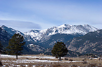 Snowy Mountain Peaks at Moraine Park, Rocky Mountains National Park, Colorado