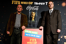 Branko Oblak and President of Slovenian football federation Ivan Simic at VIP reception of FIFA World Cup Trophy Tour by Coca-Cola, on March 29, 2010, in BTC City, Ljubljana, Slovenia.  (Photo by Vid Ponikvar / Sportida)