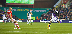 STOKE-ON-TRENT, ENGLAND - Sunday, January 12, 2014: Liverpool's Aly Cissokho scores the first goal against Stoke City during the Premiership match at the Britannia Stadium. (Pic by David Rawcliffe/Propaganda)