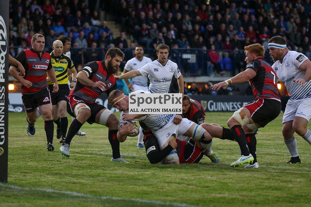 Leinster No.4. Tom Denton is stopped just short of the Edinburgh line Edinburgh Rugby v Leinster, 4th September 2015