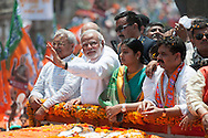 Varanasi, Uttar Pradesh, India. 24th April, 2014. Several thousand BJP supporters lined the streets of Varanasi to greet NARENDRA MODI as he visited the Uttar Pradesh city to file his nomination papers for the Lok Sabha elections.