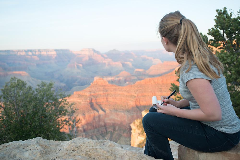 Young Woman Sketching Grand Canyon