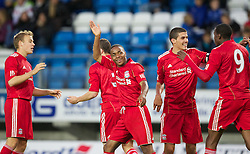 MOLDE, NORWAY - Wednesday, September 7, 2011: Liverpool's Raheem Sterling celebrates scoring the fourth goal against Molde with team-mate captain Conor Coady and Michael Ngoo during the second NextGen Series Group 2 match at Aker Stadion. (Photo by Vegard Grott/Propaganda).